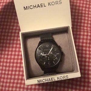 MK Black & Silver Chronograph Watch